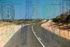 Passport over Australia scenic destination