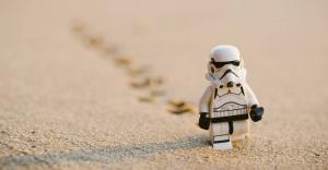 Lego Stormtrooper walking through desert