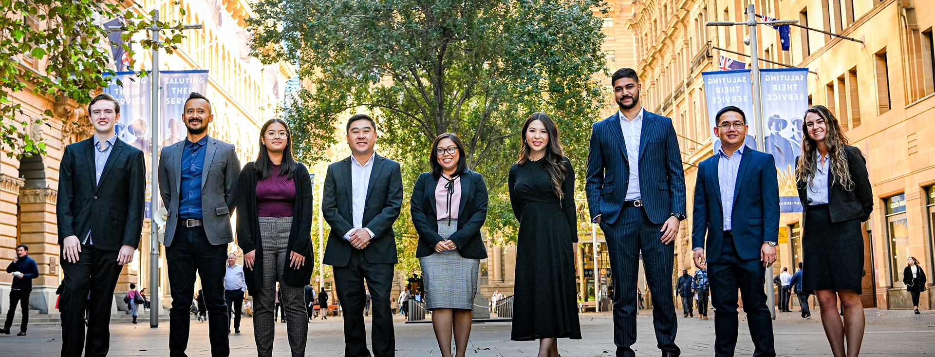 Photo of the new Gilton Valeo team standing in Martin Place